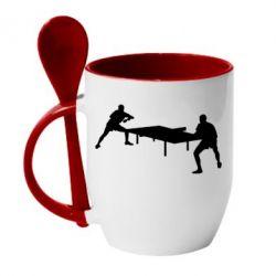 Кружка с керамической ложкой Теннисный стол - FatLine