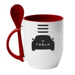 Кружка с керамической ложкой Tesla Car - FatLine
