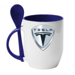 Кружка с керамической ложкой Tesla Corp - FatLine