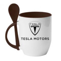Кружка с керамической ложкой Tesla Motors - FatLine