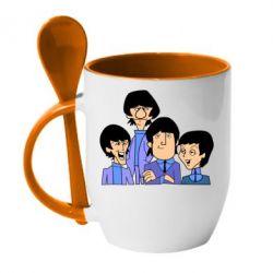 Кружка с керамической ложкой The Beatles - FatLine