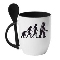 Кружка с керамической ложкой The Bing Bang theory Evolution