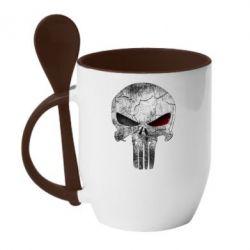 Кружка с керамической ложкой The Punisher Logo - FatLine
