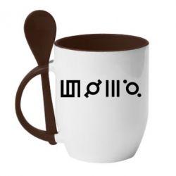 Кружка з керамічною ложкою Thirty seconds to Mars Glyphs