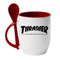 Кружка с керамической ложкой Thrasher Magazine - FatLine