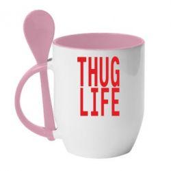 Купить Кружка с керамической ложкой thug life, FatLine