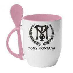 Купить Кружка с керамической ложкой Tony Montana Logo, FatLine