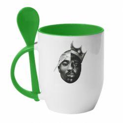 Кружка с керамической ложкой Tupac & Notorious BIG