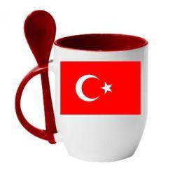 Кружка с керамической ложкой Турция - FatLine