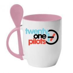Кружка з керамічною ложкою Twenty One Pilots Logo