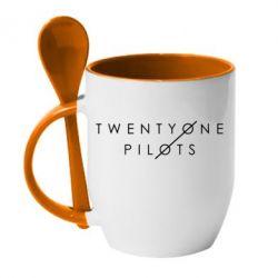 Кружка с керамической ложкой Twenty One Pilots - FatLine