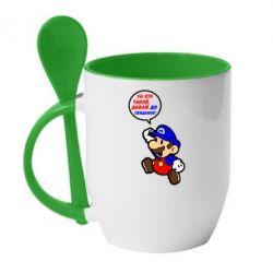 Кружка с керамической ложкой Ты кто такой? Давай до свидания! Супер Марио