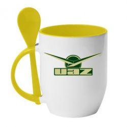 Кружка с керамической ложкой UAZ Лого - FatLine