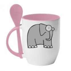 Кружка с керамической ложкой удивленный слон - FatLine