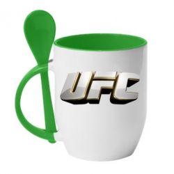 Кружка с керамической ложкой UFC 3D - FatLine