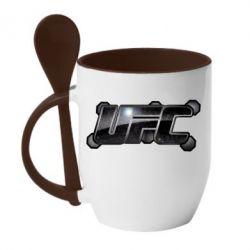 Кружка с керамической ложкой UFC Art - FatLine
