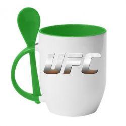 Кружка с керамической ложкой UFC Metal - FatLine