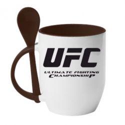 Кружка с керамической ложкой UFC - FatLine