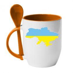Кружка с керамической ложкой Украина - FatLine