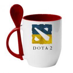 Кружка с керамической ложкой Ukraine Dota Team - FatLine
