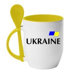 Кружка с керамической ложкой UKRAINE FLAG - FatLine