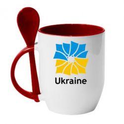 Кружка с керамической ложкой Ukraine квадратний прапор - FatLine