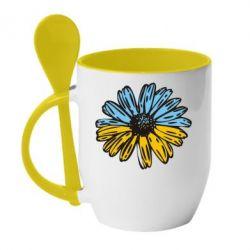 Кружка с керамической ложкой Українська квітка - FatLine