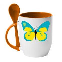 Кружка с керамической ложкой Український метелик - FatLine
