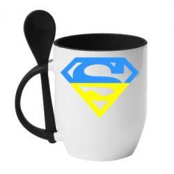 Кружка с керамической ложкой Український Superman - FatLine