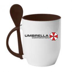Кружка с керамической ложкой Umbrella Corp - FatLine