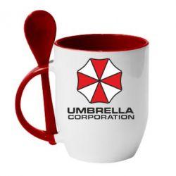 Кружка с керамической ложкой Umbrella - FatLine