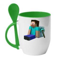Кружка с керамической ложкой Уставший Стив - FatLine