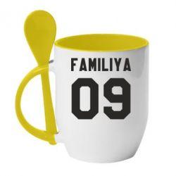Кружка с керамической ложкой Ваша фамилия и номер - FatLine