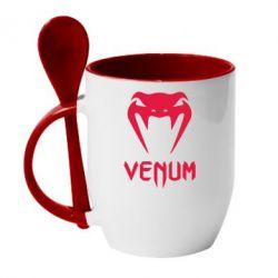 Кружка с керамической ложкой Venum2 - FatLine