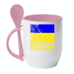 Кружка с керамической ложкой Виготовлено в Україні - FatLine