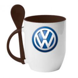 Кружка с керамической ложкой Volkswagen 3D Logo - FatLine
