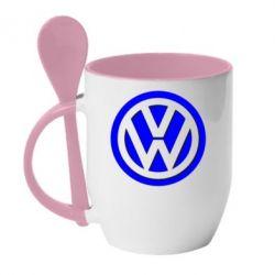 Кружка с керамической ложкой Volkswagen Logo - FatLine