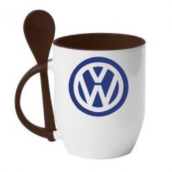 Кружка с керамической ложкой Volkswagen - FatLine