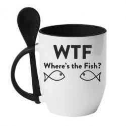 Кружка з керамічною ложкою Where is The Fish