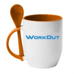 Кружка с керамической ложкой Workout - FatLine
