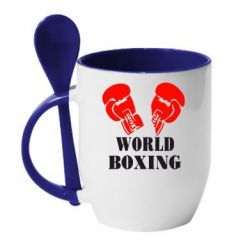Кружка с керамической ложкой World Boxing - FatLine