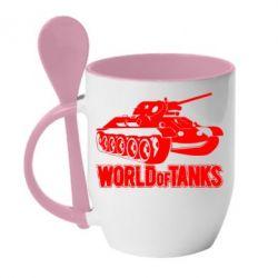 Кружка с керамической ложкой World Of Tanks Game - FatLine