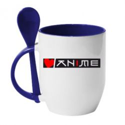 Кружка с керамической ложкой Я люблю Аниме - FatLine