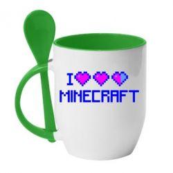 Кружка с керамической ложкой Я люблю Minecraft - FatLine