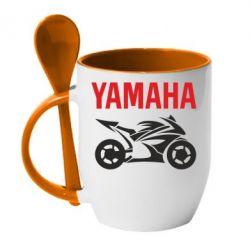 Кружка с керамической ложкой Yamaha Bike - FatLine