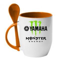 Кружка с керамической ложкой Yamaha Monster Energy