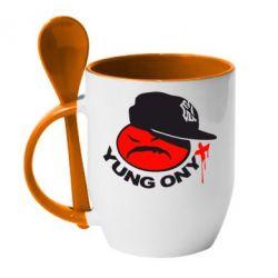 Кружка с керамической ложкой Yung ONYX - FatLine
