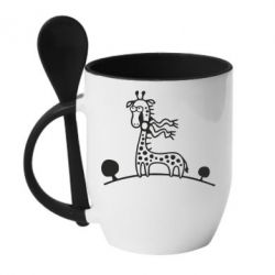 Кружка с керамической ложкой жираф - FatLine