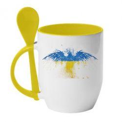 Кружка с керамической ложкой Жовто-блакитний птах - FatLine