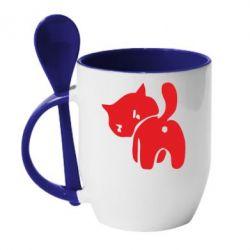 Кружка з керамічною ложкою злий коте - FatLine